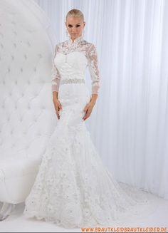 Extravagantes Brautkleid aus Organza im Meerjungfrauesntil mit Kristall 2013
