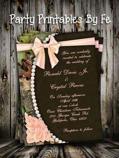 Wedding - Wedding Invitation - Camo and Peach
