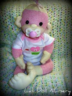 Baby Sock Monkey PATTERN and supplies by LaliDolls on Etsy, $35.00