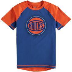 New York Knicks Youth Color Block Rash Guard T-Shirt - Blue/Orange