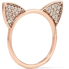 Aamaya By Priyanka Cat Ears rose gold-plated topaz ring ($310) ❤ liked on Polyvore featuring jewelry, rings, rose gold, aamaya by priyanka, rose gold plated ring, cat ears ring, charm jewelry and topaz ring