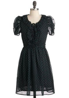 Drops of Darling Dress - Mid-length, Black, Green Polka Dots Mod Dress, Maxi Wrap Dress, Dress Up, Retro Vintage Dresses, Retro Dress, Modest Fashion, Fashion Dresses, Women's Fashion, Pretty Outfits