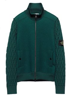 548A6 Bomber jacket in felted wool with sleeves in woollen yarn knitted in an Aran-style stitch.  Contoured ribbed knit collar. Two vertical pockets with snap fastening on internal fabric support. Bottom hem in ribbed wool jersey. Zip fastening. www.stoneisland.com