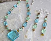 Turquoise, Gold and light Green glass beaded