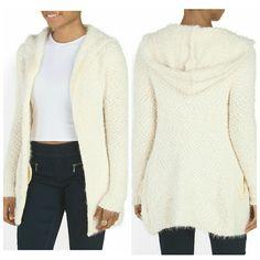 New ivory popcorn eyelash sherpa hoodie cardigan Brand new. eyelash detail, textured, pocketslong sleeve, hooded medium-weight knit polyester/polyamide nylon Imported machine wash.  Size small. Sweaters Cardigans