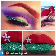 Mermaid make up Disney Eye Makeup, Disney Inspired Makeup, Ariel Makeup, Disney Princess Makeup, Eye Makeup Art, Colorful Eye Makeup, Fairy Makeup, Movie Makeup, Little Mermaid Makeup