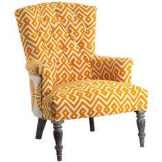Classic Armchair - Block Printed - Yellow / White