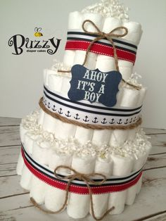 Nautical Theme Baby Shower, Ahoy It's A Boy Diaper Cake, Diaper Cakes for Boys, It's a boy, by BuzzyDiaperCakes