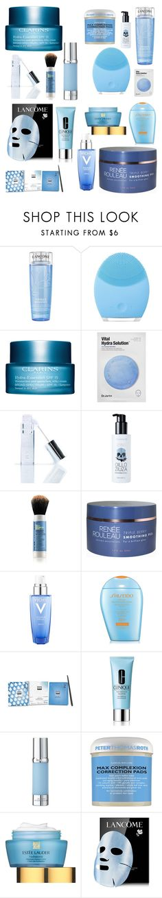 """""""Skincare BLUE"""" by sophiafbaumann on Polyvore featuring Lancôme, FOREO, Clarins, Winky Lux, too cool for school, Vichy, Shiseido, Erno Laszlo, Clinique and La Prairie"""