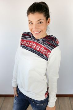 Norwegischer Hoodie mit Kapuze / norwegian style hoodie, white by Shoko via DaWanda.com