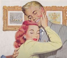 Romantically lovely 1940s illustrated couple. I really like her hair - wavy and elegant, but still relaxed and youthful. #vintage #1940s #forties #ads #illustrations