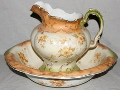Demi Porcelain Pitcher & Wash Basin Set C. 1890