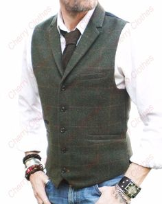 MENS OLIVE GREEN CHECK COLLAR LAPEL TWEED WAISTCOAT VEST WOOL BLEND-TAILORED FIT http://www.99wtf.net/men/mens-fasion/smart-casual-men/