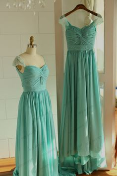 Ivory/Mint Blue Chiffon Long Prom Dress with Beaded Cap Sleeves