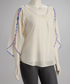 Take a look at this Cream Pleated Button-Sleeve Plus-Size Top by UMGEE U.S.A. on #zulily today!