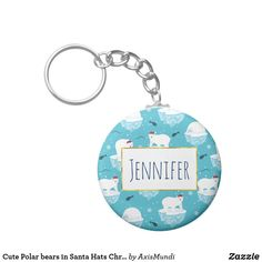 Cute Polar bears in Santa Hats Christmas Pattern Keychain Arctic Polar Bears, Cute Polar Bear, Light Blue Background, Santa Hat, Keychains, Keep It Cleaner, Create Your Own, Cool Designs, Cute Animals