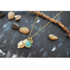 Personalized Dangle Mint Drop Necklace - Gold Plated