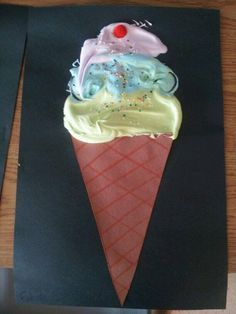 made this icecream cone art with my students today. icecream is equal parts white glue and shaving cream. I used food colouring to colour the mixture. :)>>fun sub lesson Kindergarten Art, Preschool Crafts, Art For Kids, Crafts For Kids, Cream Art, Ice Cream, Art Lessons Elementary, Shaving Cream, Art Activities