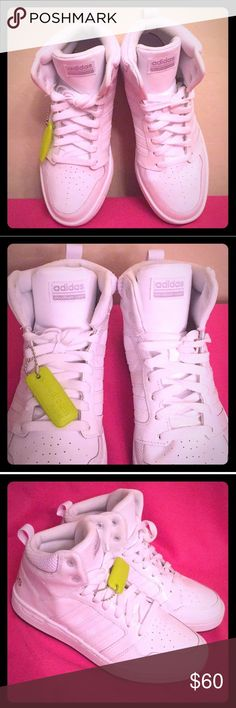 🆕 ONLY 1 PAIR! Adidas Neo Cloudfoam Sneakers Street Style Chic! Authentic Adidas Women's Bei Cloudfoam Sneakers. White with Silver Adidas Logos. Perforated Fronts. Long White Shoe Laces. Leather Upper. Cloudfoam Double Layer Footbed has Removable Fabric Inserts. Rubber Outsoles. Comes with Bonus Adidas Key Chain attached to the Right Sneaker. Brand New. Excellent Condition. No Trades. See Other Cool Adidas Listings in My Closet.👌🏽 adidas Shoes Sneakers