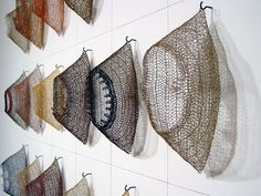 Tracy Krumm – why not hang a display like this, it's a way to live with your… - FIBER ART Wire Crochet, Crochet Art, Textile Fiber Art, Textile Artists, Instalation Art, 3d Mesh, Wire Mesh, Textiles Techniques, Soft Sculpture