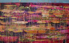 Scrivener - Dappled Light - Acrylic and Gold Leaf Dappled Light, Gold Leaf, Pond, Leaves, Nature, Painting, Art, Art Background, Water Pond