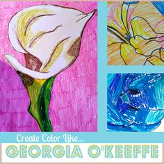 Georgia O'Keeffe Art lesson for teaching kids how to color big flowers like Georgia O'Keeffe.Teaches gradient scale for colors and shading using basic markers.