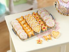 Iced Butter Cookies on Metal Baking Sheet - Five Varieties - Miniature Food in 12th Scale for Dollhouse