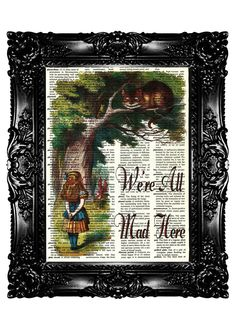 Alice in Wonderland 34 Dictionary Art Print  Art Prints Upcycled Book  Vintage Book Print  Vintage Book Page    Buy 3 get 4th free