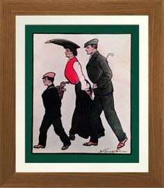 1904 Golfers - Vintage Print. Vintage 1904 magazine illustration reproduced on Archival Heavyweight Paper http://www.zazzle.com/1904_golfers_vintage_print-228041105515100947 #golf #art #print #gifts #sport