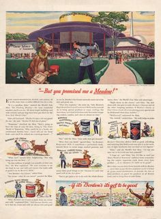 1939 Elsie the Borden Cow goes to the New York World's by Vividiom Vintage Advertisements, Vintage Ads, Vintage Food, Elsie The Cow, Ice Cream Candy, Vintage Recipes, Mixed Drinks, Milk, World