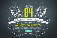 Hand drawn clip art. 84 elements! - Illustrations - 1
