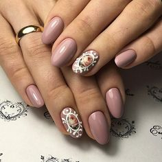 A simple yet very elegant looking rose nail art design. The nude rose color compliments the subtle yet very glamorous floral design on the nails with the help of the white lace like designs that help make the flowers pop out.