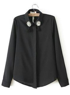 Black Lapel Long Sleeve Rhinestone Tassel Blouse US$31.33