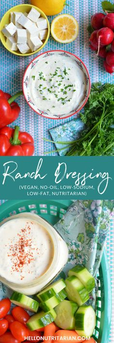Vegan Ranch Dressing Recipe | low fat, no nuts, oil free, low sodium, nutritarian, whole food plant based recipe.  This was an exciting dressing recipe to make because it's SO low in fat!  Usually vegan ranch dressings use cashews for their base but this recipe uses tofu, spices and loads of fresh herbs--they truly make all the difference!  Perfect savory salad dressing when you're trying to lose weight on Dr. Fuhrman's 6 week Eat to Live plan!  xo, Kristen #vegandressing…