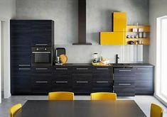 cuisine déco en noir et jaune par Ikea