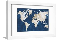 World Map Navy Gold Neutral Framed Print Wall Art By Alicia Vidal Navy Blue And Grey Living Room, Navy Blue Rooms, Navy Blue Wall Art, Navy Blue Walls, Blue Wall Decor, White Wall Art, Blue And Gold Bedroom, Gold Bedroom Decor, Navy Home Decor