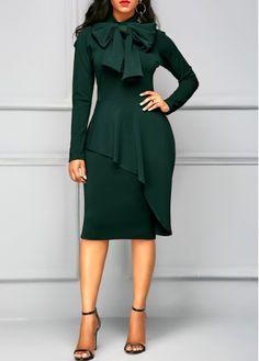 Peplum Waist Tie Neck Dark Green Dress on sale only US$35.84 now, buy cheap Peplum Waist Tie Neck Dark Green Dress at liligal.com