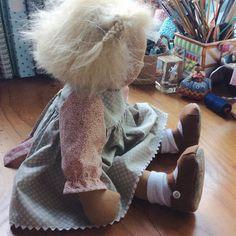 So this little is on my table just waiting for her teddy bear. Dear little Meg, she is a heart stealer for sure.  #littlejennywrendolls #handmadedoll #dollmaker