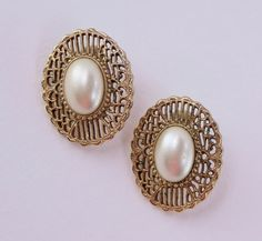 Vintage 80s Traditional Preppy Goldtone Faux Pearl Cabochon Open Work Scroll Earrings by ThePaisleyUnicorn, $5.00