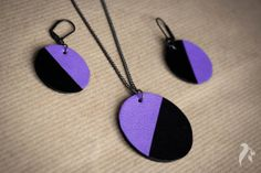 Simplicity leather set of pendant and earrings by NfSLeather, £20.00