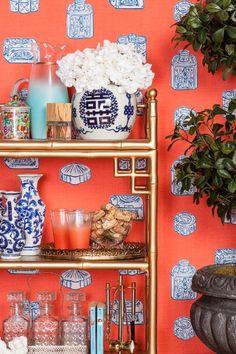 gold bar cart, blue and white jars, coral wallpaper, greenery Fabric Wallpaper, Of Wallpaper, Wallpaper Display, Orange Wallpaper, Interior Wallpaper, Beautiful Wallpaper, Coral Blue, Blue And White, White Bar