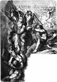Æsene mot vanene, illustrasjon ved Karl Ehrenberg (1882). - Etter at konflikten mellom de to gudeslektene ble bilagt er det kampen mellom gudene og en tredje makt, jotnene, som står vesentlig i den norrøne mytologien.