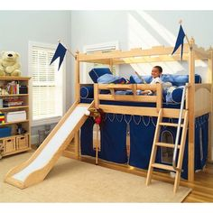 Boys Bed Tent Canopy | Toddler Bunk Beds Slides on Maxtrix Kids Twin Castle Loft Bed With ...