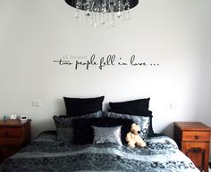 Nice styling of one of our word graphic designs on a bedroom wall.  Designed by Cool Art Design.  Installed by customer.