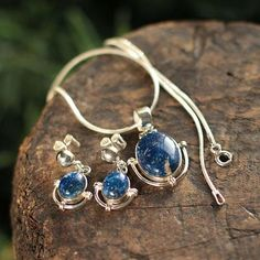Lapis lazuli jewelry set, 'Mystique' - Handcrafted Lapis Lazuli Pendant and Earrings Jewelry Set