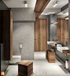Grey bathroom with wooden elements