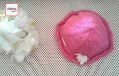 KNITTED SUN HAT with brim and drawstring for babies  bright