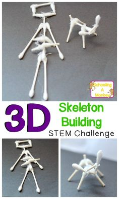 Combine science with Halloween with this simple STEM challenge to build animal and human skeletons from cotton swabs! Halloween science is the best! Stem Science, Science Experiments Kids, Science For Kids, Physical Science, Science Education, Earth Science, Life Science, Higher Education, Science Space