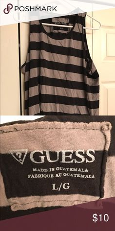 Guess Men's Tank Top Muscle Shirt Size medium Guess Men's Tank Top Muscle Shirt Size Medium Grey Black Worn Once 