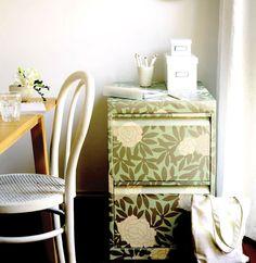 Wallpapered filing cabinet; Photo by Sam McAdam/NewsLifeMedia